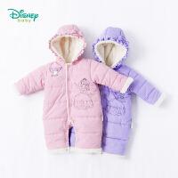 迪士尼Disney童装 婴儿衣服冬装保暖卡通索菲娅连体衣夹棉女宝宝花边连帽外出爬服184L769