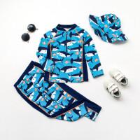 英国儿童泳衣欧美男童分体泳衣婴儿宝宝鲨鱼防晒三件套游泳衣 HX-17109+渔夫帽