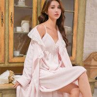 睡袍睡裙女秋冬季珊瑚绒两件套装性感睡衣加厚款法兰绒浴袍家居服 均码