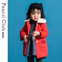 【3件价:89.1元】铅笔俱乐部童装2019冬季新款女童毛毛领外套小童呢子外套儿童上衣
