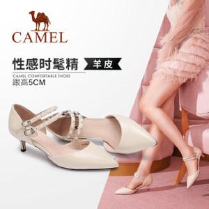 Camel/骆驼女鞋 2018春季新款 性感尖头细跟鞋女珠饰腕带中跟浅口单鞋