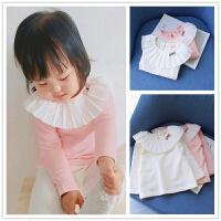 百褶领~甜美女童纯棉打底衫 0-1-2-3-4岁儿童宝宝翻领长袖T恤上衣