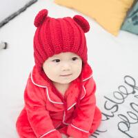 婴儿秋冬季女宝宝帽子儿童6个月1岁男童防风护耳帽保暖小孩套头帽