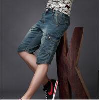 夏季牛仔短裤男五分欧美宽松薄款直筒纯棉休闲七分牛仔裤男士中裤