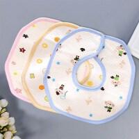 婴儿围嘴吃饭兜纯棉加大防水围兜360度旋转宝宝口水巾新生儿用品