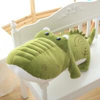 ?卡通鳄鱼抱枕靠垫可爱毛绒玩具大号河马公仔布娃娃玩偶生日礼物女