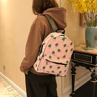 韩版小清新撞色涂鸦双肩包女学院风PU防水旅行包学生情侣书包背包
