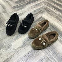 欧洲风格站2017冬季新款女鞋蝴蝶结羊皮毛一体平底保暖平底豆豆鞋