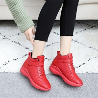 棉鞋女冬季加绒学生韩版百搭平底高帮休闲运动加厚保暖一脚蹬短靴