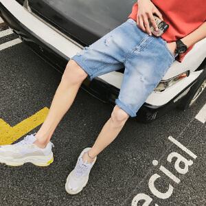 K170-P40 夏季新款男士牛仔裤破洞五分裤港风韩版短裤潮