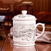 景德镇陶瓷器 大号骨瓷茶杯带盖 办公杯子男士 杯茶杯茶具瓷