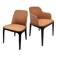 轻奢餐椅家用现代简约北欧餐厅全实木餐桌椅子靠背懒人休闲皮凳子