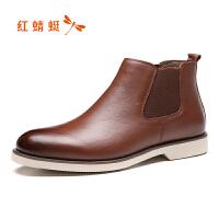 红蜻蜓马丁靴男鞋新款秋季潮鞋大头工装鞋休闲高帮皮鞋男断码清仓