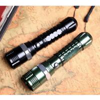 防身迷你防水夜骑骑行 LED强光手电筒 远射变焦户外家用充电