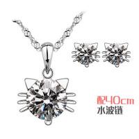 时尚韩版猫精灵套装925银项链耳钉女短款可爱银饰品吊坠送女友爱人生日礼物
