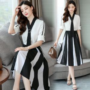长裙女夏2018新款流行两件套套装裙大码显瘦冷淡风裙子雪纺连衣裙