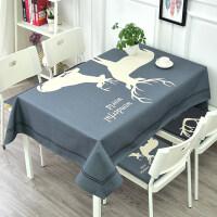 桌布布艺棉麻北欧麋鹿餐厅创意台布客厅方桌长方形茶几圆桌布盖布