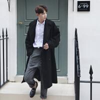 新款oversize超宽双排扣大口袋潮牌男装风衣外套 黑色 均码