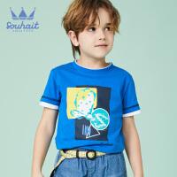 水孩儿souhait男童t恤新款夏装纯棉休闲T恤衫短袖圆领上衣AQAXM571