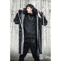 秋季字母印花飘带装饰男士中长款风衣高街嘻哈潮男青少年外套 黑色