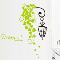 路灯藤蔓玄关走廊装饰墙贴可移除创意时尚贴纸欧式吊灯绿叶墙贴画 路灯蔓藤 大