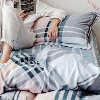 简约时尚条格子4四件套中性纯棉斜纹床单床品三套件
