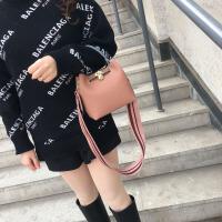 2018春夏宽肩带撞色铂金包拼色手提单肩女包复古锁头子母包 小号裸粉 有内胆包
