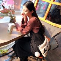 【1件3折/2件2.5折129元叠50券】韩都衣舍2019春装新款女韩版气质两件套中长款针织连衣裙DU8469�S
