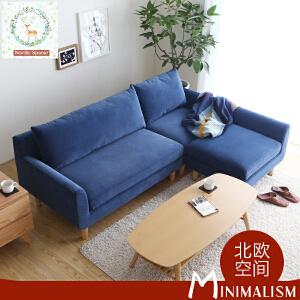 N空间 糖果色超舒适布艺沙发DS105 北欧日式小户型单人位双人位三人位