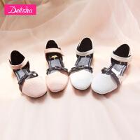 【3件3折到手价:65】笛莎女童甜美花朵皮鞋2018新款中小童单鞋平底公主皮鞋凉鞋