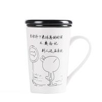 水杯 男女北欧创意可爱手工贴花学生杯子陶瓷马克杯带盖勺办公室咖啡杯牛奶杯早餐杯情侣杯