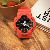 中学生手表男生运动电子表多功能水计时手表彩色大表盘夜光手表 红色