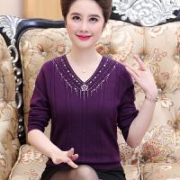 中老年女秋冬装针织衫上衣短款妈妈装V领羊毛打底衫套头毛衣40岁