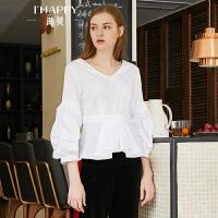 2018秋季新款女装上衣V领白色褶皱灯笼袖长袖高腰收腰娃娃衫衬衫