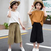 童装2018夏季新款女童阔腿裤套装中大童韩版上衣+裤子两件套