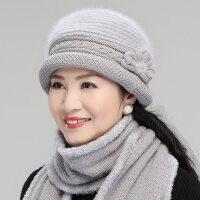 冬天妈妈帽围巾针织毛线老人帽奶奶老太太保暖盆帽中老年人帽子女xx