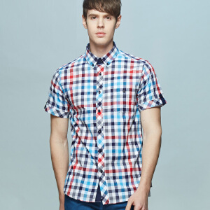 男式亚麻款男式短袖衬衫 清爽蓝红白格纹