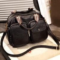 织带女包手提包2018新款女潮复古波士顿休闲包包撞色单肩包斜挎包SN5089 黑色(6号发货) 送手拿包运费险