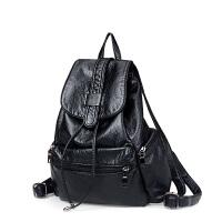 软皮韩版女士双肩包女书包时尚休闲潮学院风学生旅行包两用女背包SN2993 黑色