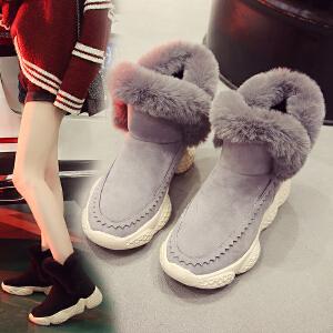 女式 秋冬雪地靴厚底防滑加厚绒毛毛翻边英伦风中筒靴学生棉鞋