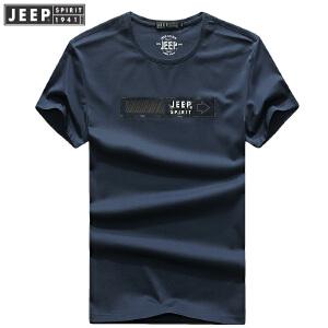 704055夏装薄款吉普JEEP纯棉圆领宽松休闲男士T恤衫 大版polo衫潮