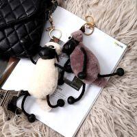 小羊肖恩皮草饰品毛绒羊毛玩具手工挂件书包毛绒女包迷你礼品装饰
