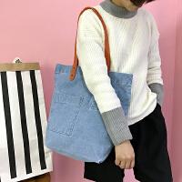 韩国学院风牛仔单肩包女包复古森系学生帆布包口袋贴布手提包大包