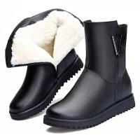 中老年短靴真皮保暖加绒羊毛靴皮鞋平底妈妈鞋42大码棉鞋女43真皮 黑色5858 送棉袜和鞋垫