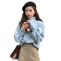 秋冬韩版气质纯色宽松高领泡泡袖网红套头打底衫针织衫毛衣上衣女 均码