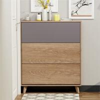 北欧超薄翻斗鞋柜17cm简约现代小户型阳台储物柜实木色玄关门厅柜