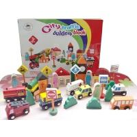 儿童城市交通场景组合积木玩具木制大块大颗粒 2-3-6周岁 城市交通积木