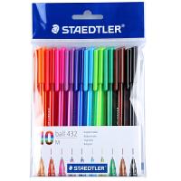 德国STAEDTLER施德楼432彩色圆珠笔原子笔多色圆珠笔10 支 10色