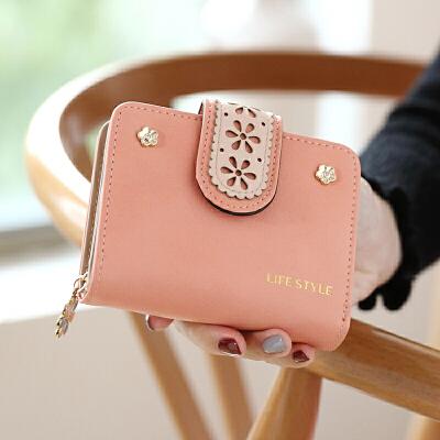 小钱包女短款新款简约学生折叠小清新镂空零钱包