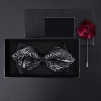 正装婚礼礼服英伦韩版蝴蝶结胸针礼盒装男士三角灰色花纹领结套装